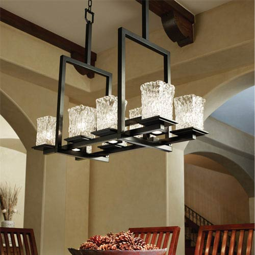 Justice Design Group Veneto Luce Montana 8-Up and Three-Downlight Matte Black Bridge Chandelier