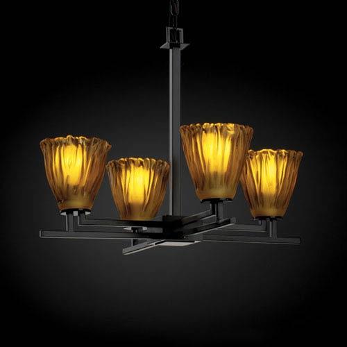 Justice Design Group Veneto Luce Aero Four-Light Matte Black Chandelier