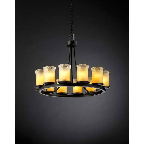 Justice Design Group Dakota Matte Black and Gold Twelve-Light Short Ring Chandelier