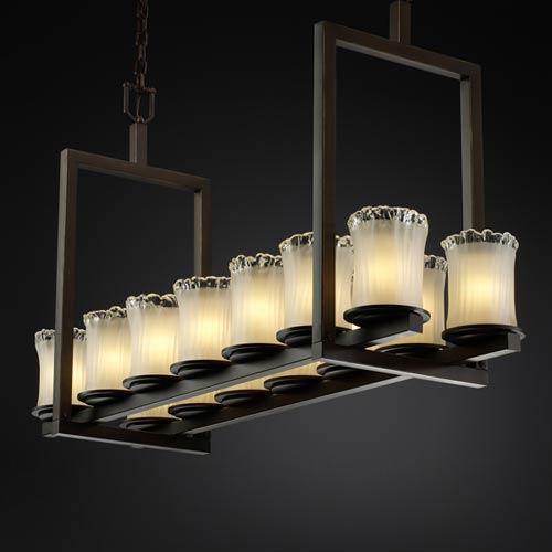 Justice Design Group Veneto Luce Dakota Fourteen-Light Short Bridge Chandelier
