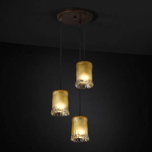 Veneto Luce Modular Three-Light Dark Bronze Cluster Mini Pendant