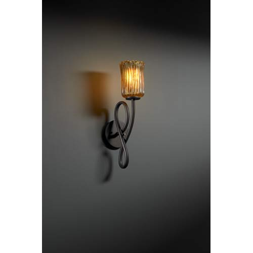 Justice Design Group Capellini Dark Bronze and Amber Single-Light Wall Sconce