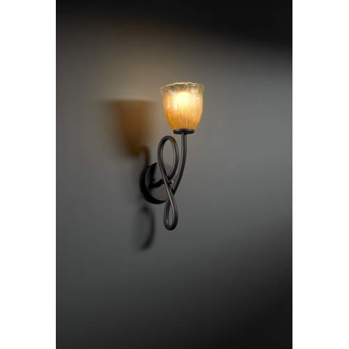 Justice Design Group Capellini Dark Bronze and Gold Single-Light Wall Sconce