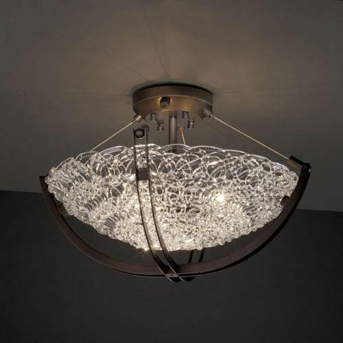 Justice Design Group Veneto Luce Crossbar CrossbarThree-Light Dark Bronze Semi-Flush Bowl With Crossbar