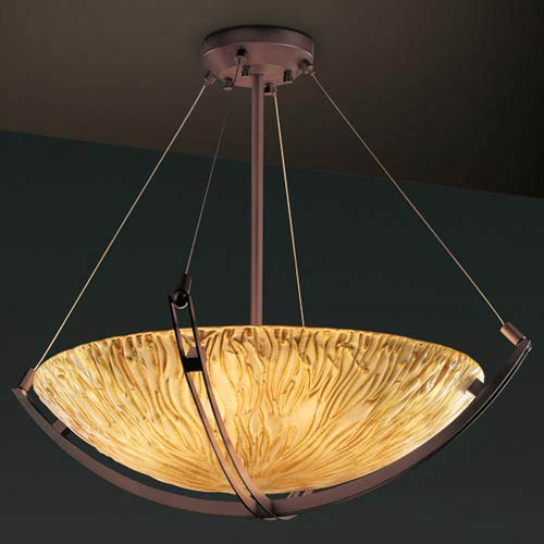 Justice Design Group Veneto Luce 24-Inch Bowl Pendant with Crossbar
