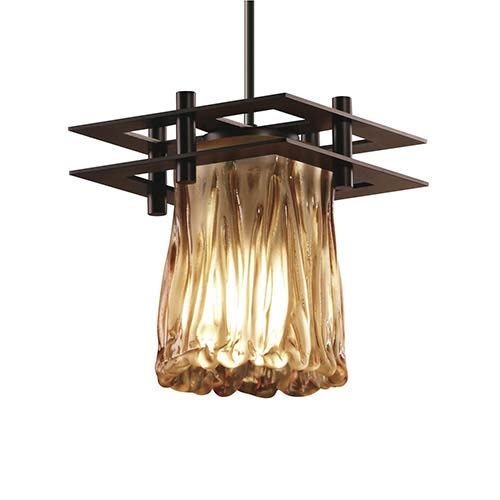 Veneto Luce Dark Bronze One-Light Rippled Rim Cylinder Mini Pendant with Two Flat Bar and Amber Glass