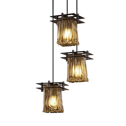 Justice Design Group Veneto Luce Dark Bronze Three-Light Rippled Rim Square Cluster Mini Pendant with Two Flat Bar and Amber