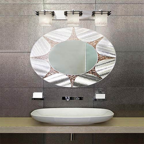 Justice Design Group Veneto Luce Polished Chrome Three-Light Bath Bar with Whitewash Glass