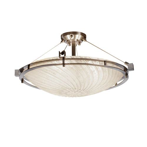 Justice Design Group Veneto Luce Brushed Nickel Six-Light 24-Inch Wide Round Semi-Flush Bowl with White Wash Glass