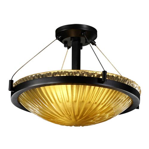 Justice Design Group Veneto LuceBlack Three-Light 18-Inch Wide Round Semi-Flush Bowl with Gold Clear Rim Glass and Ring