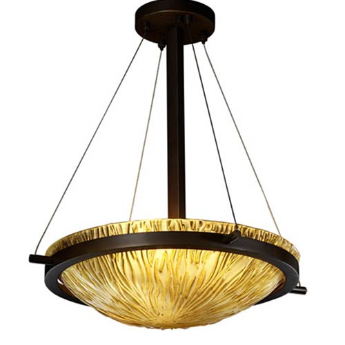 Justice Design Group Veneto Luce Dark Bronze Three-Light 18-Inch Round Bowl Pendant with Amber Glass and Ring