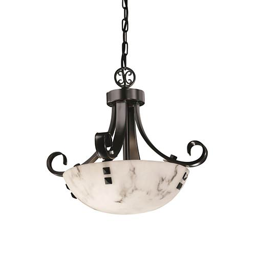 Round faux alabaster pendant lighting bellacor justice design group lumenaria matte black led 14 inch round bowl pendant with scrolls and aloadofball Image collections