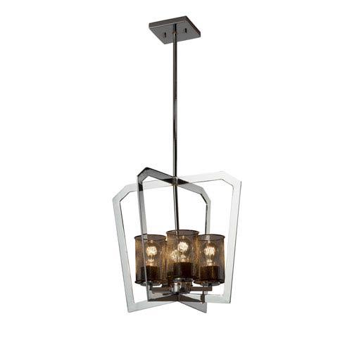 Wire Mesh - Aria Polished Chrome Four-Light Chandelier with Black Wire Mesh