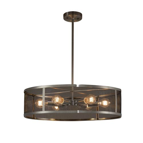 Justice Design Group Wire Mesh - Wire Mesh Brushed Nickel Six-Light Drum Pendant with Black Wire Mesh