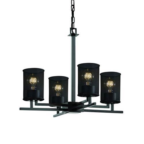 Wire Mesh™  Matte Black Four-Light Chandelier