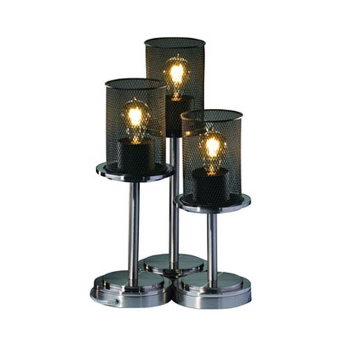Justice Design Group Wire Mesh Brushed Nickel Three Light Table