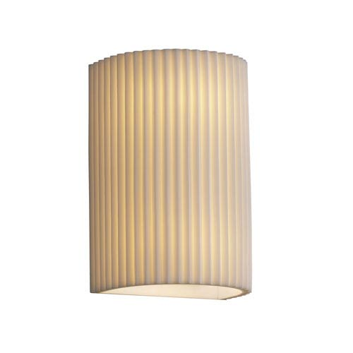 Justice Design Group Porcelina Wall Sconce Small CylinderTwo-Light Faux Porcelain Open Top and Bottom Wall Sconce