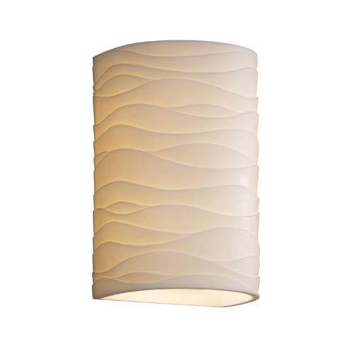 Justice Design Group Porcelina Wall Sconce Large CylinderTwo-Light Faux Porcelain Open Top and Bottom Wall Sconce
