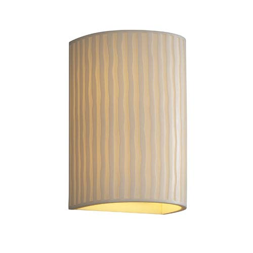 Justice Design Group Porcelina Wall Sconce Large Cylinder Faux Porcelain Open Top and Bottom Outdoor Wall Sconce