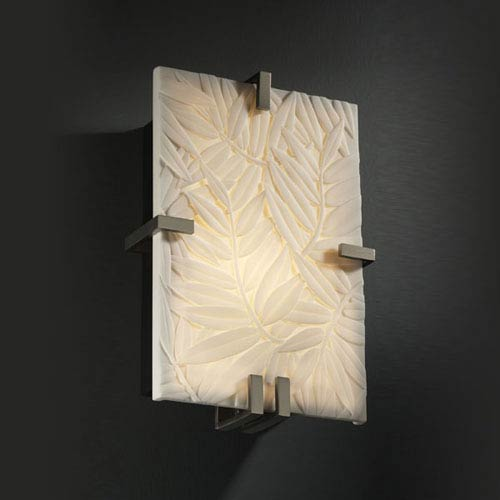 Porcelina Clips RectangleTwo-Light Fluorescent Brushed Nickel Wall Sconce