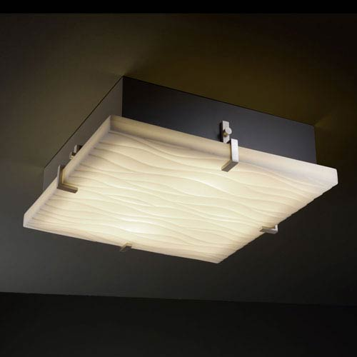 Porcelina Clips 16-Inch Four-Light Fluorescent Brushed Nickel Square Flush-Mount