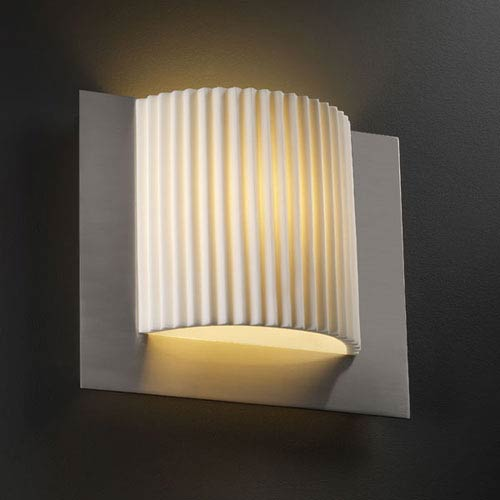 Justice Design Group Porcelina Framed Square Three-Sided Fluorescent Brushed Nickel Wall Sconce