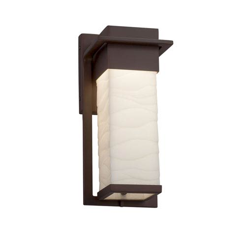 Justice Design Group Porcelina - Pacific Dark Bronze 12-Inch LED Outdoor Wall Sconce with Off-White Wavy Faux Porcelain Resin