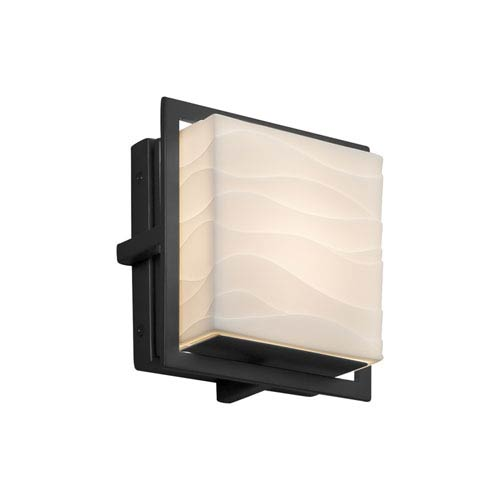 Justice Design Group Porcelina - Avalon Matte Black Seven-Inch LED Outdoor Wall Sconce with Off-White Wavy Faux Porcelain