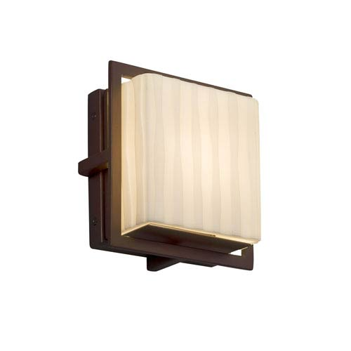 Justice Design Group Porcelina - Avalon Dark Bronze Seven-Inch LED Outdoor Wall Sconce with Off-White Waterfall Faux