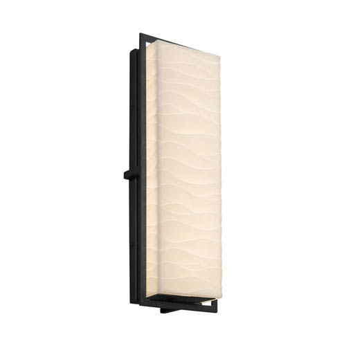Justice Design Group Porcelina - Avalon Matte Black 18-Inch LED Outdoor Wall Sconce with Off-White Wavy Faux Porcelain Resin