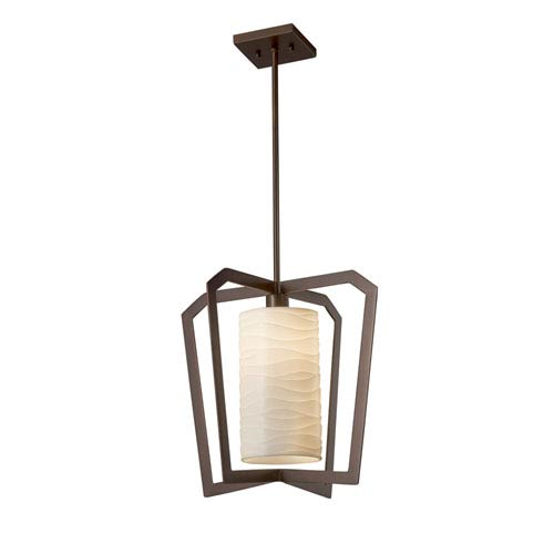 Justice Design Group Porcelina - Aria Dark Bronze One-Light Pendant with Off-White Wavy Faux Porcelain Resin
