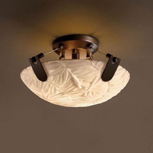 Porcelina U-Clips 14-Inch Two-Light Dark Bronze Semi-Flush Bowl With U-Clips