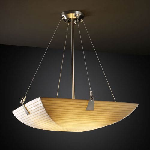 Justice Design Group Porcelina Tapered Clips 18-Inch Three-Light Brushed Nickel Pendant Bowl With Tapered Clips