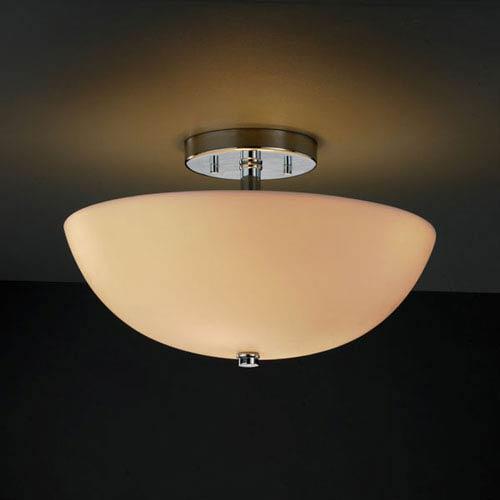 Justice Design Group Porcelina Semi-Flush 14-Inch Two-Light Polished Chrome Round Semi-Flush Bowl