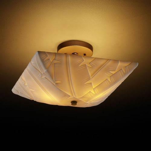 Justice Design Group Porcelina Semi-Flush 14-Inch Two-Light Dark Bronze Square Semi-Flush Bowl