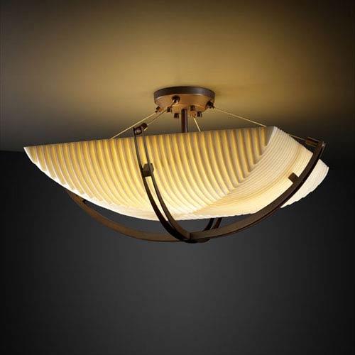 Justice Design Group Porcelina Crossbar CrossbarThree-Light Dark Bronze Semi-Flush Bowl With Crossbar