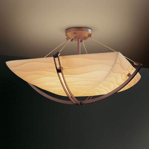 Porcelina Crossbar CrossbarThree-Light Dark Bronze Semi-Flush Bowl With Crossbar