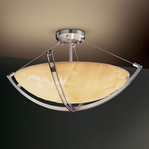 Justice Design Group Porcelina Crossbar CrossbarThree-Light Brushed Nickel Semi-Flush Bowl With Crossbar