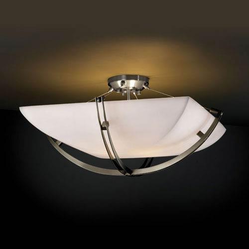 Porcelina Crossbar CrossbarSix-Light Brushed Nickel Semi-Flush Bowl With Crossbar