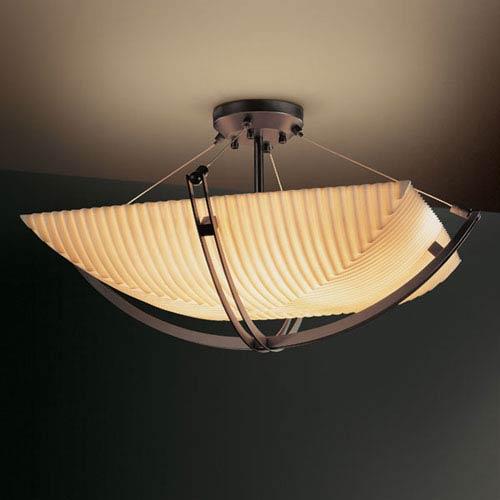 Justice Design Group Porcelina Crossbar CrossbarEight-Light Dark Bronze Semi-Flush Bowl With Crossbar