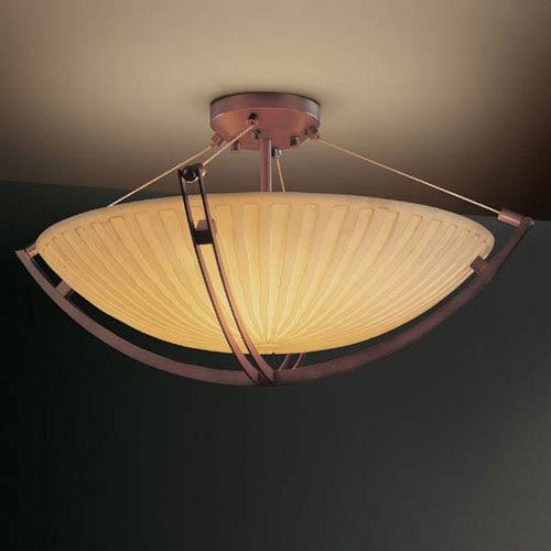 Porcelina Crossbar CrossbarEight-Light Dark Bronze Semi-Flush Bowl With Crossbar
