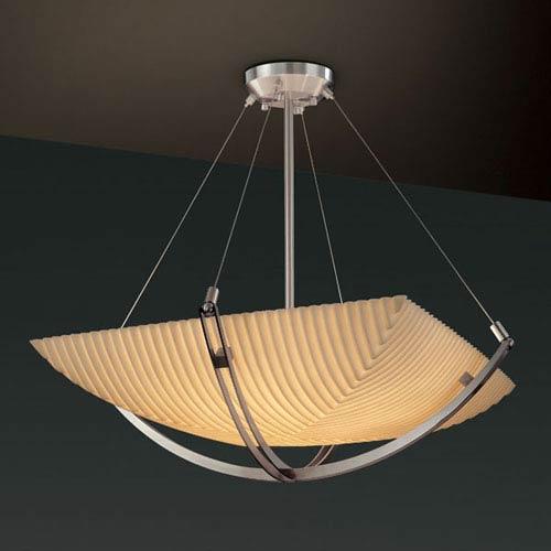 Justice Design Group Porcelina Crossbar CrossbarThree-Light Brushed Nickel Pendant Bowl With Crossbar