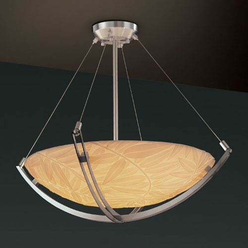 Porcelina Crossbar CrossbarThree-Light Dark Bronze Pendant Bowl With Crossbar