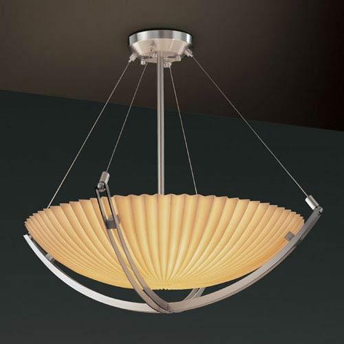 Justice Design Group Porcelina Crossbar CrossbarSix-Light Brushed Nickel Pendant Bowl With Crossbar