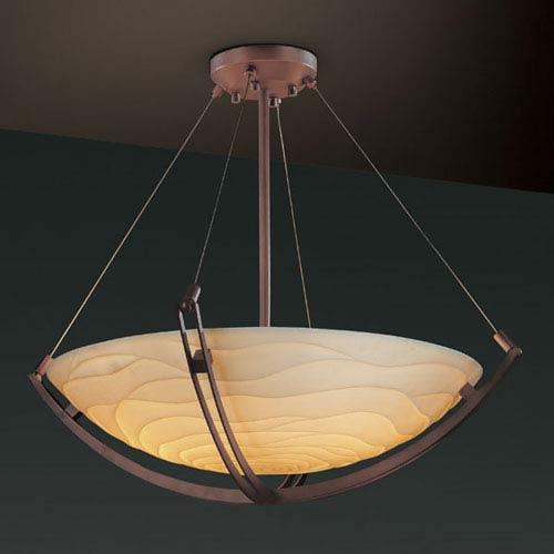 Justice Design Group Porcelina Crossbar CrossbarSix-Light Dark Bronze Pendant Bowl With Crossbar