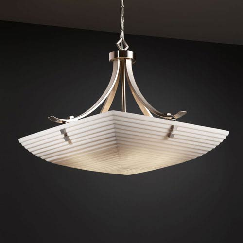 Justice Design Group Porcelina Flat Bars with Finials 24-Inch Six-Light Brushed Nickel Pendant Bowl Flat Bars With Finials