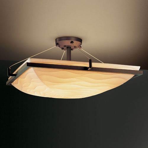 Porcelina Ring 18-Inch Three-Light Dark Bronze Square Semi-Flush Bowl With Ring