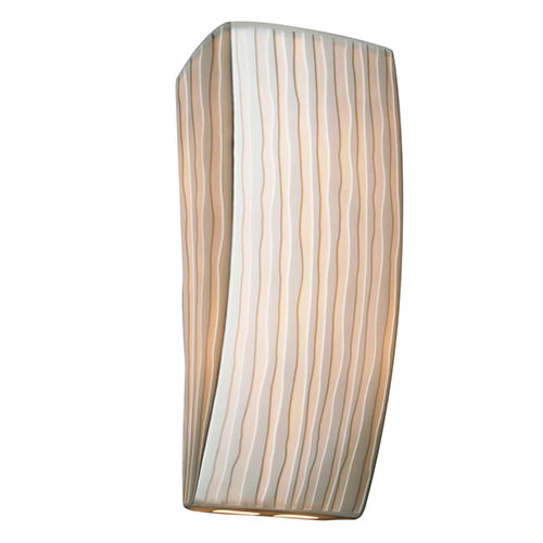 Justice Design Group Porcelina Faux Porcelain Resin One-Light Rectangular Wall Sconce with Waterfall Shade