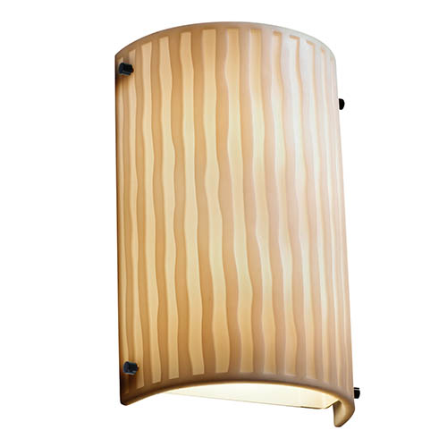 Justice Design Group Porcelina Matte Black Two-Light Cylindrical Finial Wall Sconce with Waterfall Shade