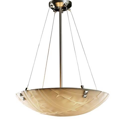 Porcelina Brushed Nickel Six-Light 24-Inch Round Bowl Pendant with Pair of Square-Point Finial